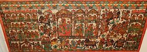 RARE OLD INDIA PEOPLE AND ANIMALS SCENE ACRYLIC ON WAX CLOTH PAINTING UNSIGNED