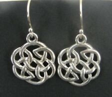 Silver 925 Pierced Dangle Earrings Celtic Knot Trinity Larger Sterling
