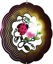 """Ladybug Flower Wind Spinner New Zephyr Spiral 12"""" Steel Pink Red"""