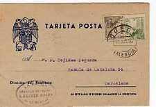 Tarjeta Postal Patriótica Año 1940 de Sueca a Barcelona ( muy bonita )