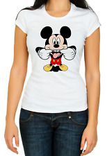 Mickey Mouse sarcastic face funny White Women's 3/4 Short Sleeve T-Shirt K268