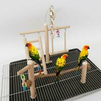 Bird Cage Stand Play Gym Perch Playground Wood Parrot Climbing Ladder Chew Chain