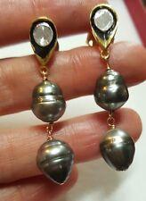 Gray black baroque double drop Tahitian pearl Diamond earrings 925 silver