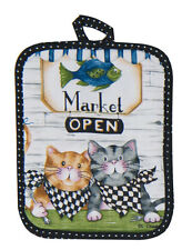 Cat Potholder | Cotton | Ivory Black Blue | Pictorial | Free US Shipping!