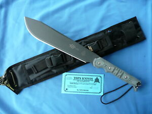 TOPS Machete .170 Black Linen Micarta 1095 Carbon Steel USA Made Knife