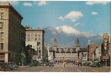 PIKES PEAK AVENUE Antlers Hotel Snow Covered  COLORADO SPRINGS Postcard CO 1954