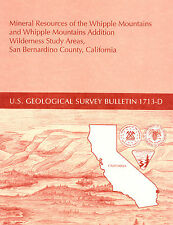 Whipple Mtns, Mojave Desert, CA, GOLD MINES, RARE report & BIG detached map, VG+