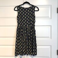 MODCLOTH Circus Womens Navy Pineapple Print Retro Sleeveless Dress Sz 8 UK 6 US