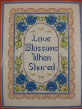 Colortex LOVE BLOSSOMS WHEN SHARED Sealed Counted Cross Stitch Kit 9x12 Vintage