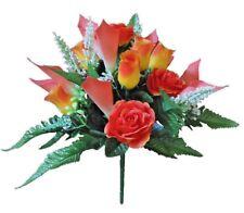 "Coral 17"" Mixed Flower Bouquet Silk Flower Leaf Home Office Wedding Decor"