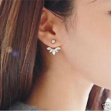 Fashion Jewellery Crystal Rose Gold Quality Leaf Ear Clips stud Earrings
