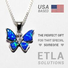 "SOLID 925 Silver & Opal Butterfly Pendant w/ 20"" Necklace / Fine Jewelry Gift"