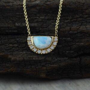 D-Shaped Moonstone Gemstone Diamond Pendant Solid 14K Yellow Gold Necklace Fine