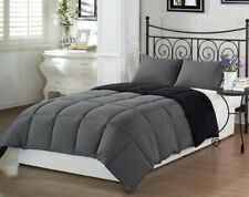 3pcs Super Soft Reversible Down Alternative Comforter Set Queen Size, Gray Black