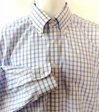 Nordstrom Shirt Blue White Plaid Button Down LS Cotton 16/34