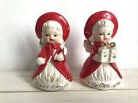 Vintage Katayama Christmas Angel Bells Holding Gift Box Candy Cane Japan AS IS