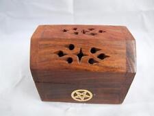 Wooden Mini Shesham Incense Cone Smoke Box with Brass Motiff.