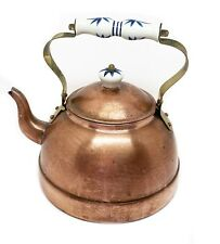 schöne Kupfer Kanne - Keramik Griffe - Tee Kaffee Wasserkessel