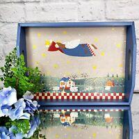Vintage Folk Art Angel Serving Tray Primitive Cmas Display Gift Blue Wood Taiwan