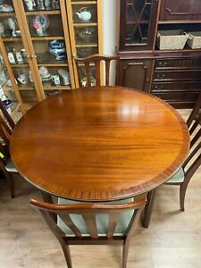 G Plan Mahogany extending dining table with 6 chairs H72 L121 L open 162 W121