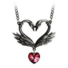 The Black Swan Romance Pendant Necklace Alchemy Gothic Pewter Jewelry Heart P773