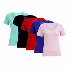 New Womens Ladies T-Shirt Scoop Neck Top Plain Sleeve Tee New Size S M L XL