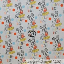 BonEful Fabric Cotton Quilt White Blue Baby Boy Mickey Mouse Disney Dot 99 SCRAP