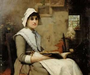 Art Oil painting interior med lasande kvinna nice young girl reading hand paint