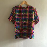 80s 90s Vintage Eva Laurel Multicolor Woven Print Short Sleeve Top Size 10