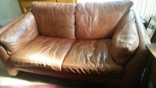 Tan Leather  2 seater sofa and chair