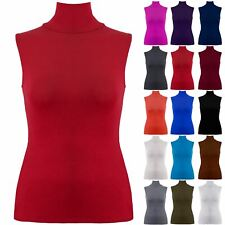 Plus Size Ladies Womens Plain Polo Turtle High Neck Sleeveless Bodycon Vest Top
