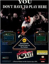 1993 Super Nintendo SNES pool billiards SIDE POCKET video game print ad page