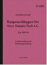Steyr Raupenschlepper Ost RSO/01 Bedienungsanleitung HDV Dienstvorschrift D638/1