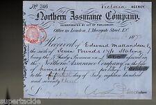 1873 Edward Mallandaine insurance policy HBC Victoria BC agency. GB revenue