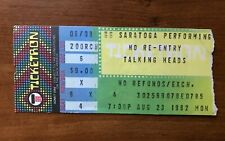 Rare Talking Heads Ticket Stub 1982 Saratoga Permorming Arts Center New York