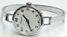 Lucerne Swiss Vintage Ladies  Silver Tone Windup Bangle Watch-New Old Stock