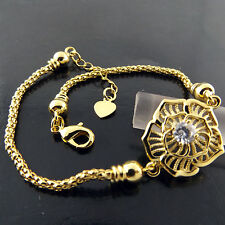 BRACELET BANGLE REAL 18K YELLOW GF GOLD DIAMOND SIMULATED ANTIQUE FLOWER DESIGN