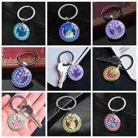 Disney Cartoon Princess Ariel Snow White Keychain Silver Key Ring Pendants Gifts
