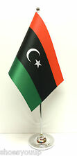 Libya New Satin Flag with Chrome Base Table Desk Flag Set