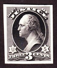 US O27TC3a 2c Justice Department Trial Color Proof in Black India on Card SCV$90