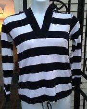 AK Sport Anne Klein Womens Size Medium Sweatshirt Hoodie Navy/White Striped EUC