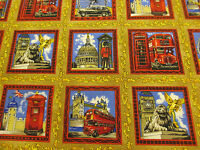 "Golden ""Tour of London""  London Printed 100% Cotton Poplin Fabric. PER METRE!"