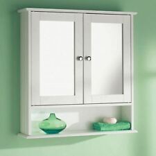Wall Mounted White 2 Door Double Mirror Wooden Bathroom Cabinet Shelf Unit
