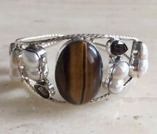 BEAUTIFUL TIGER'S EYE, MULTI-GEM & 925 STERLING SILVER BANGLE / BRACELET