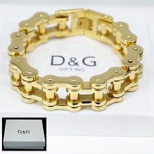 """Dg Men's 8.5"""" Gold Stainless Steel 11mm Motorcycle Bike.Chain Bracelet,+ Box"""