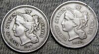 1867 1869 Copper Nickel Three Cent Piece 3cp ---- Nice Type Coin Lot ----  #L098