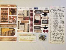Lot Scrapbooking Stickers School Graduation Set 1, Transfer Title Fabric Labels