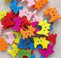 100 Pcs Color Mixed 2 Holes Horse Shape Wood Buttons For Sewing//Scrapbook nnk013