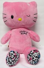 "Build a Bear Winking Hello Kitty Pink Leopard Cheetah Print Plush No Bow 19"""