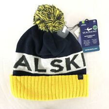 Sealskinz Beanie Water Repellent Cold Weather Bobble Hat Pom Navy Yellow S/M